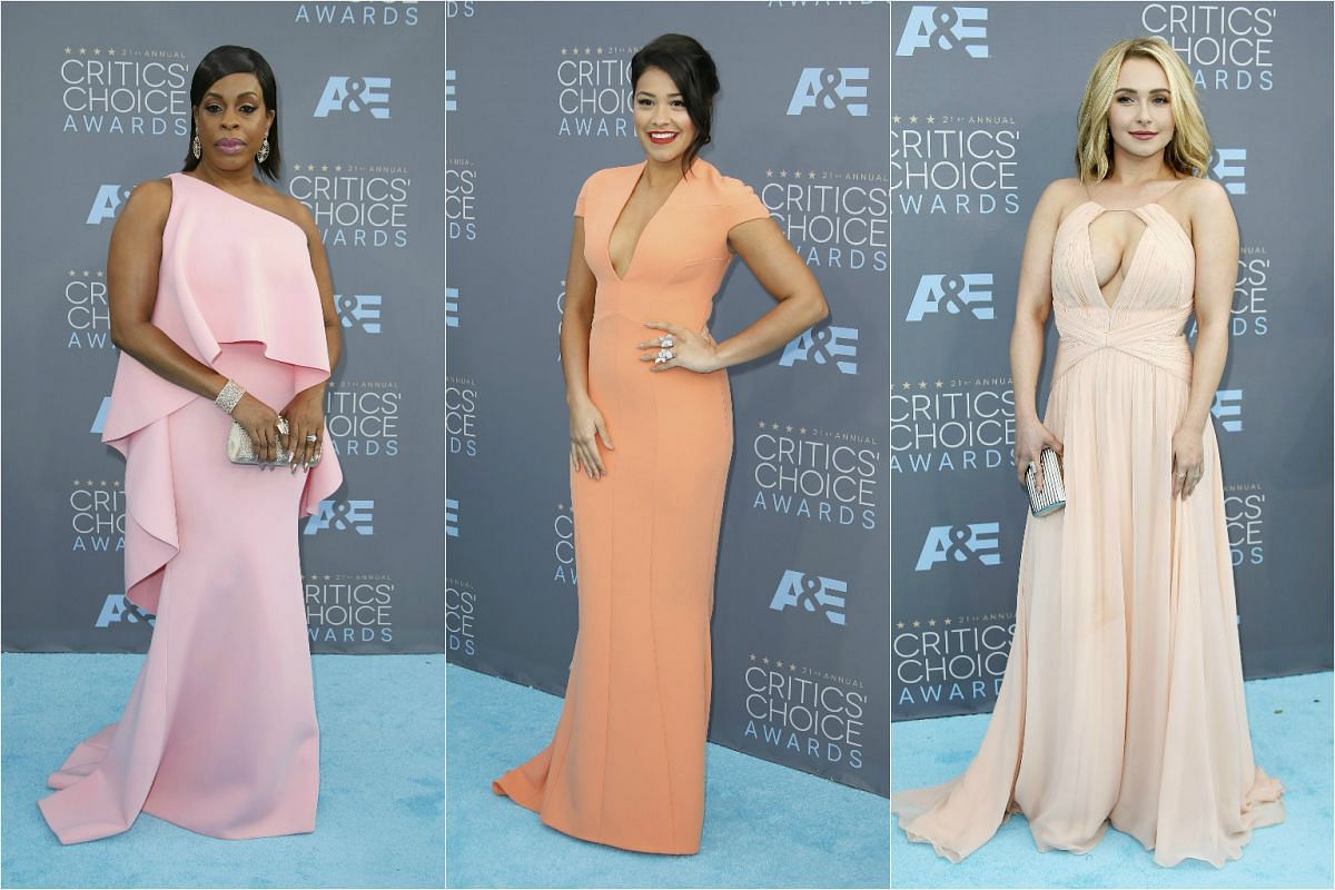 Peaches and cream colours (from left): Comedian Niecy Nash, actress Gina Rodriguez, actress Hayden Panettierre.