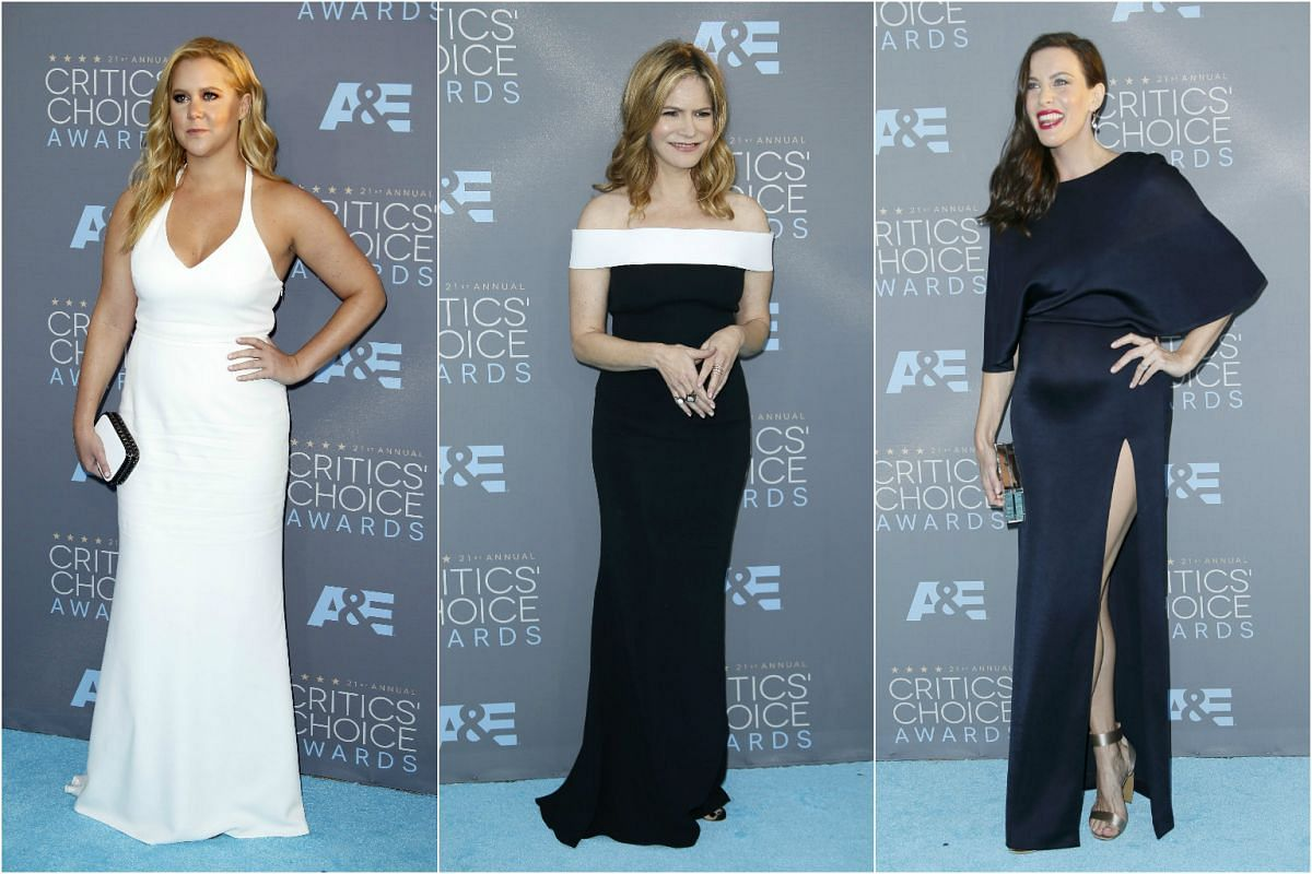 Actresses (from left) Amy Schumer, Jennifer Jason Leigh and Liv Tyler opt for classic white, black and navy shades.