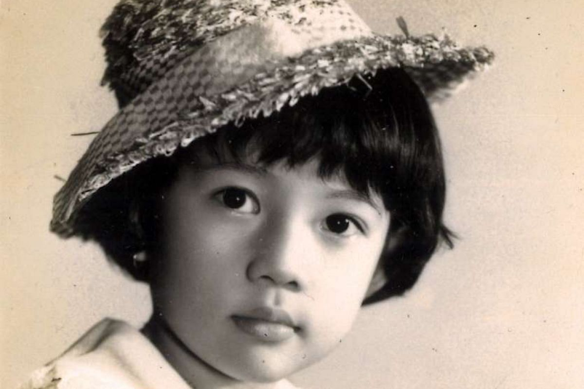 My life so far: Ms Angelene Chan as a child (above); and with her children, daughter Ashlea and son Samuel.