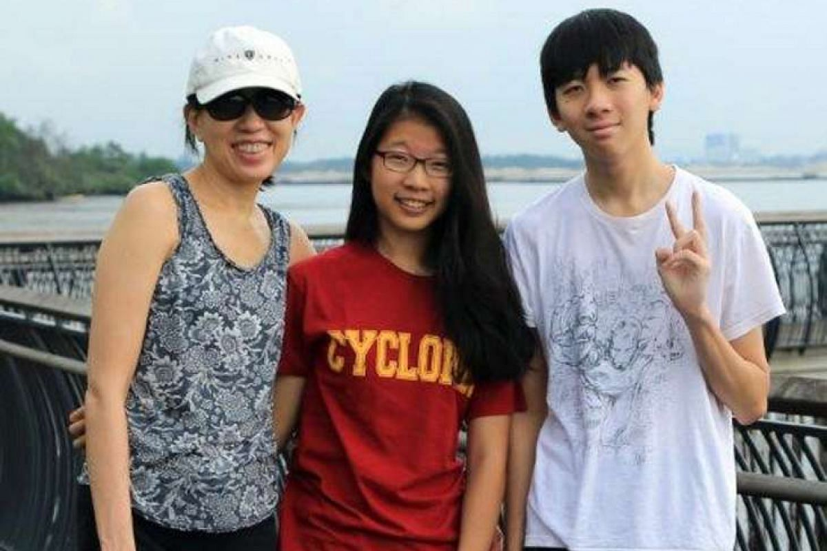 My life so far: Ms Angelene Chan as a child; and with her children (above), daughter Ashlea and son Samuel.