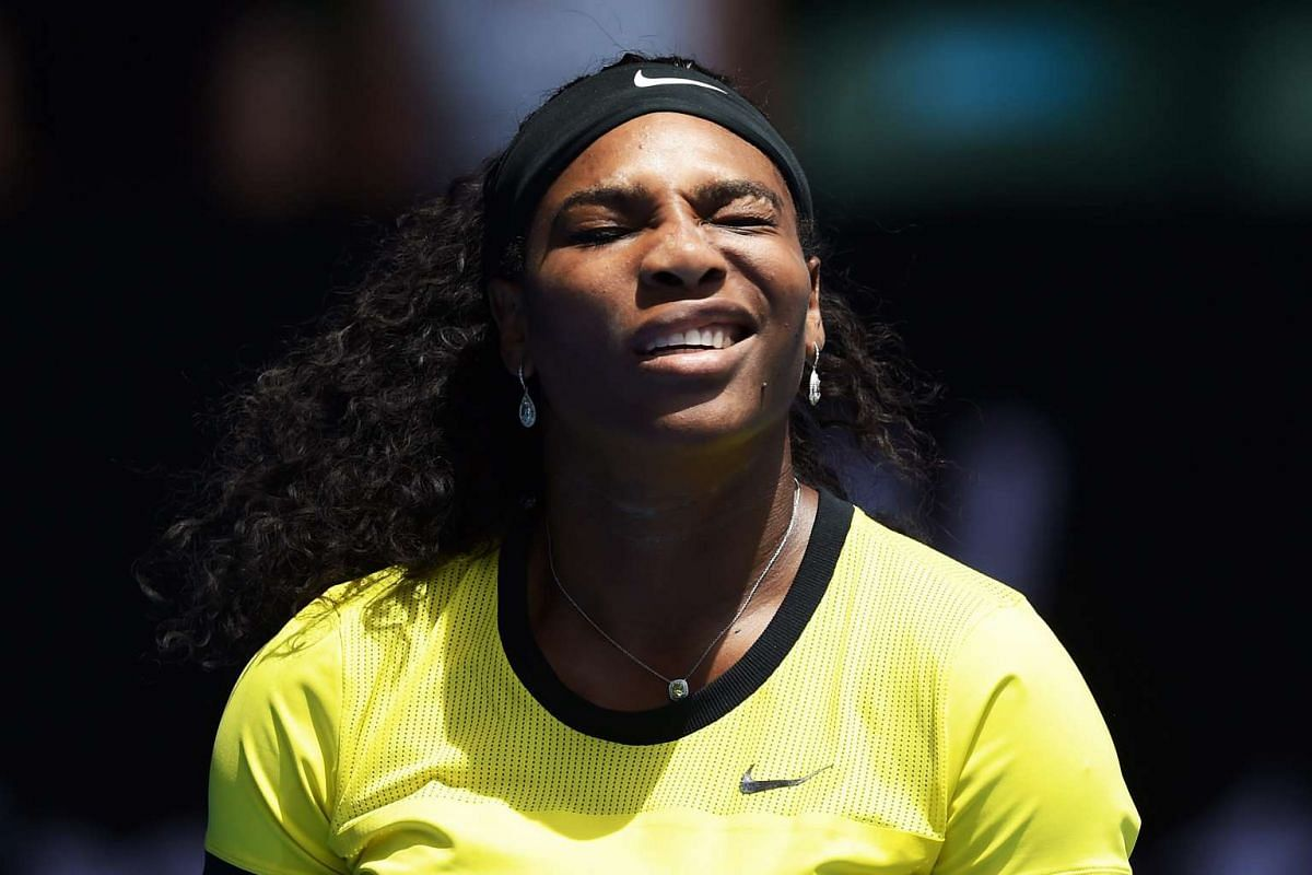 US tennis player Serena Williams squints against the sunlight at the Australian Open tennis tournament in Melbourne, Australia, on Jan 18, 2016.