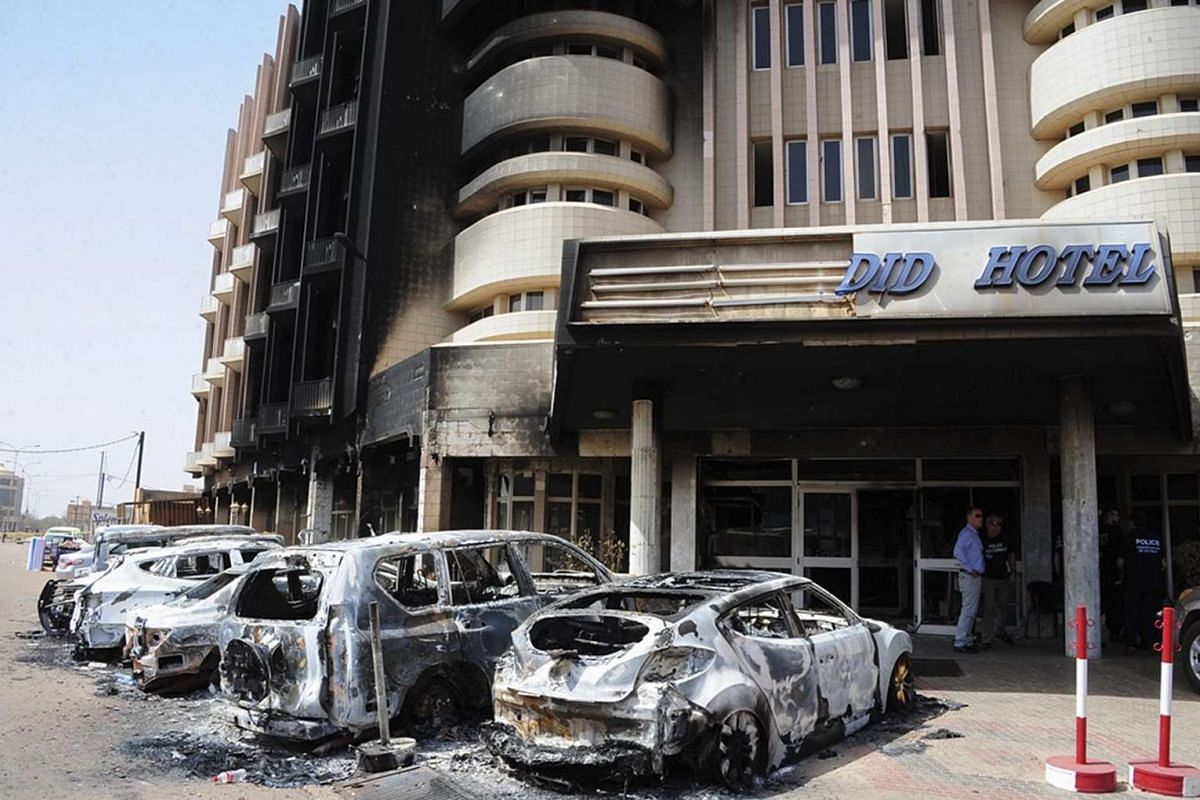 A general view of damage from an attack at the Splendid hotel in Ouagadougou, Burkina Faso, on Jan 17, 2016.