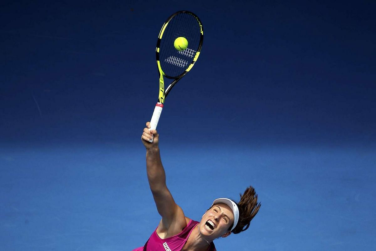 Britain's Johanna Konta serves during her first round match against Venus Williams of the United States at the Australian Open at Melbourne Park, Australia, on Jan 19, 2016. PHOTOS: REUTERS