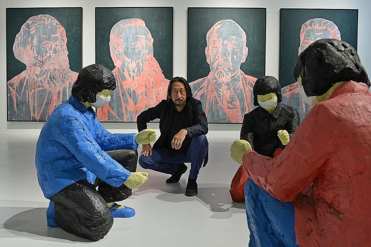Chinese artist Wang Guangyi's exhibition Image Correction showcases his recent works.