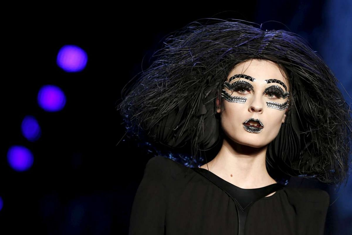 A model presents a make-up creation during a show by Maybelline New York on Jan 18, 2016.