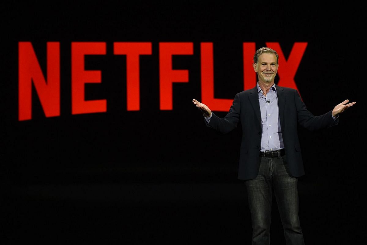 Netflix CEO Reed Hastings delivering a keynote address at CES 2016 on Jan 6, 2016.