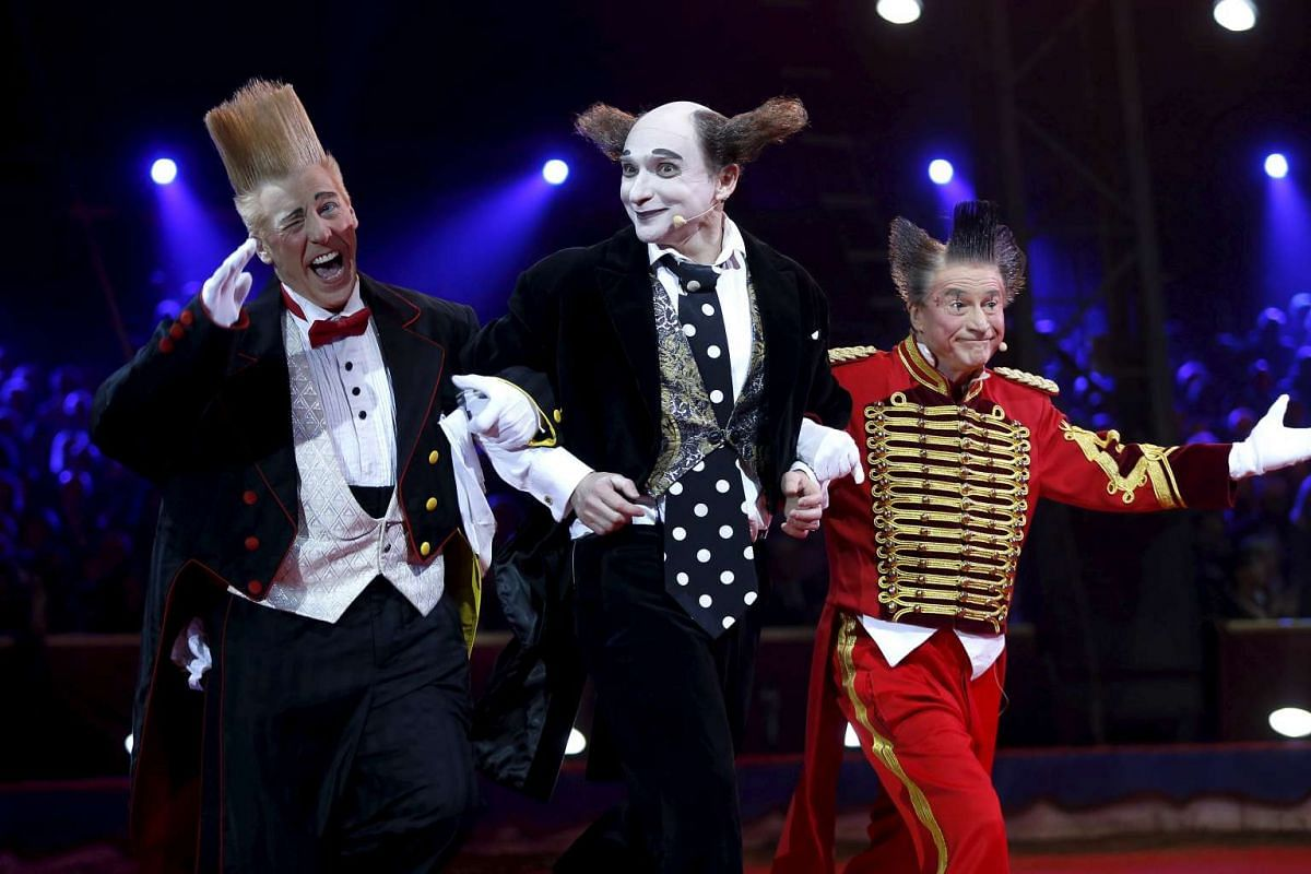 Housh ma Housh, Fumagalli and Bello Nock perform during the gala of the 40th Monte-Carlo International Circus Festival in Monaco, Jan 19, 2016. PHOTO: REUTERS