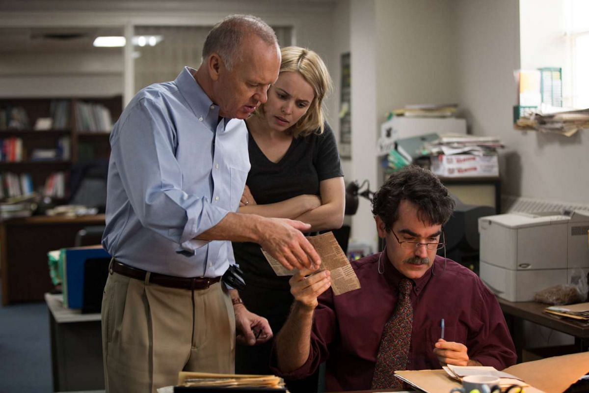 In Spotlight (from left), Michael Keaton, Rachel McAdams and Brian d'Arcy James play journalists who uncover systemic abuse.
