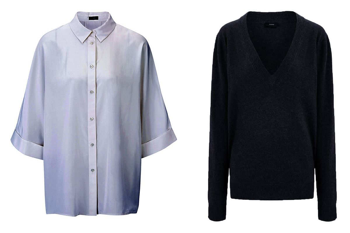 Creative director Louise Trotter's top picks of Joseph essentials for women include a classic white shirt (above left) and a cashmere V-neck sweater (above right).
