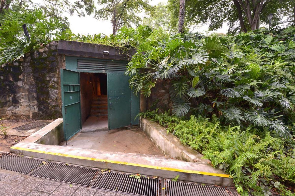 The entrance of the revamped Battle Box at Fort Canning. The attraction will incorporate archaeological finds such as used ammunition from Adam Park – the scene of the last battle before Singapore fell. The Battle Box attraction is slated to reopen