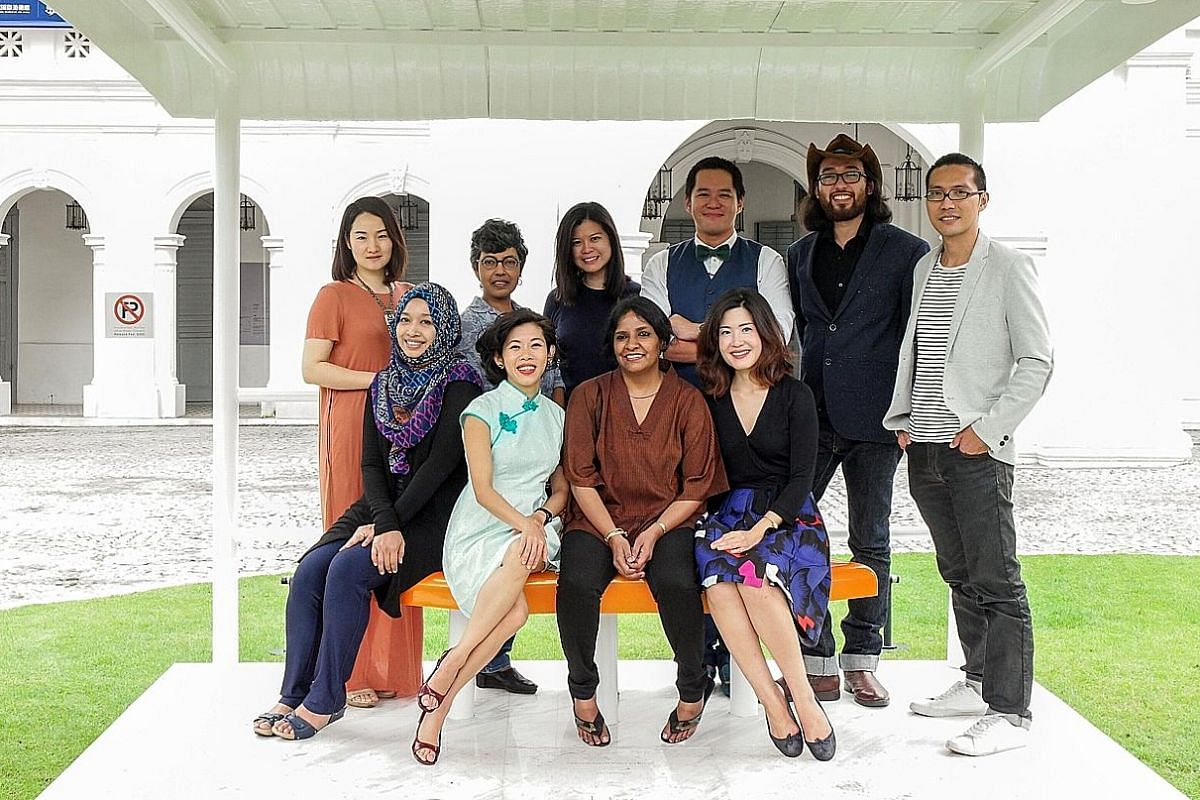 The curators for this year's Biennale are (standing, from left): Ms Xiang Liping, Dr Susie Lingham, Ms Andrea Fam, Mr Louis Ho, Mr John Tung and Mr Michael Lee and (seated, from left) Ms Nur Hanim Khairuddin, Ms Joyce Toh, Ms Suman Gopinath and Ms Ta
