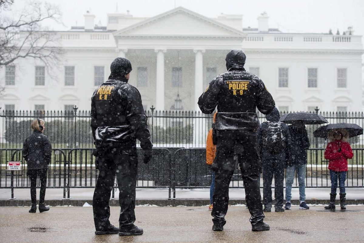 Snow falls on members of the US Secret Service Uniformed Division K-9 unit on Pennsylvania Avenue in Washington DC on Jan 22, 2016. A blizzard watch went into effect Friday (Jan 22) afternoon into Saturday for parts of Virginia and Maryland, includi