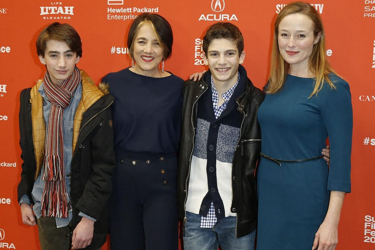 The cast of Little Men (from left) Theo Taplitz, Paulina Garcia, Michael Barbieri and Jennifer Ehle arrive for its premiere.