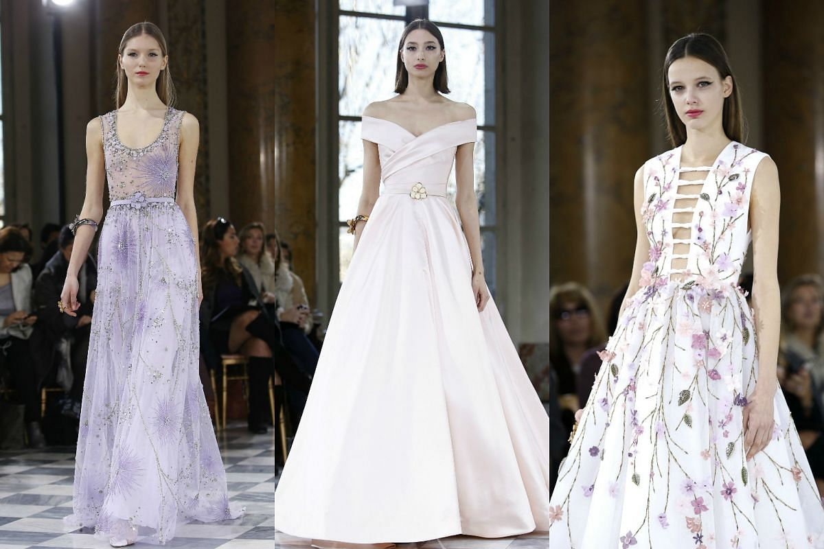 Models presenting creations from the Spring/Summer 2016 Haute Couture collection by Lebanese designer Georges Hobeika during Paris Fashion Week on Jan 25, 2016.