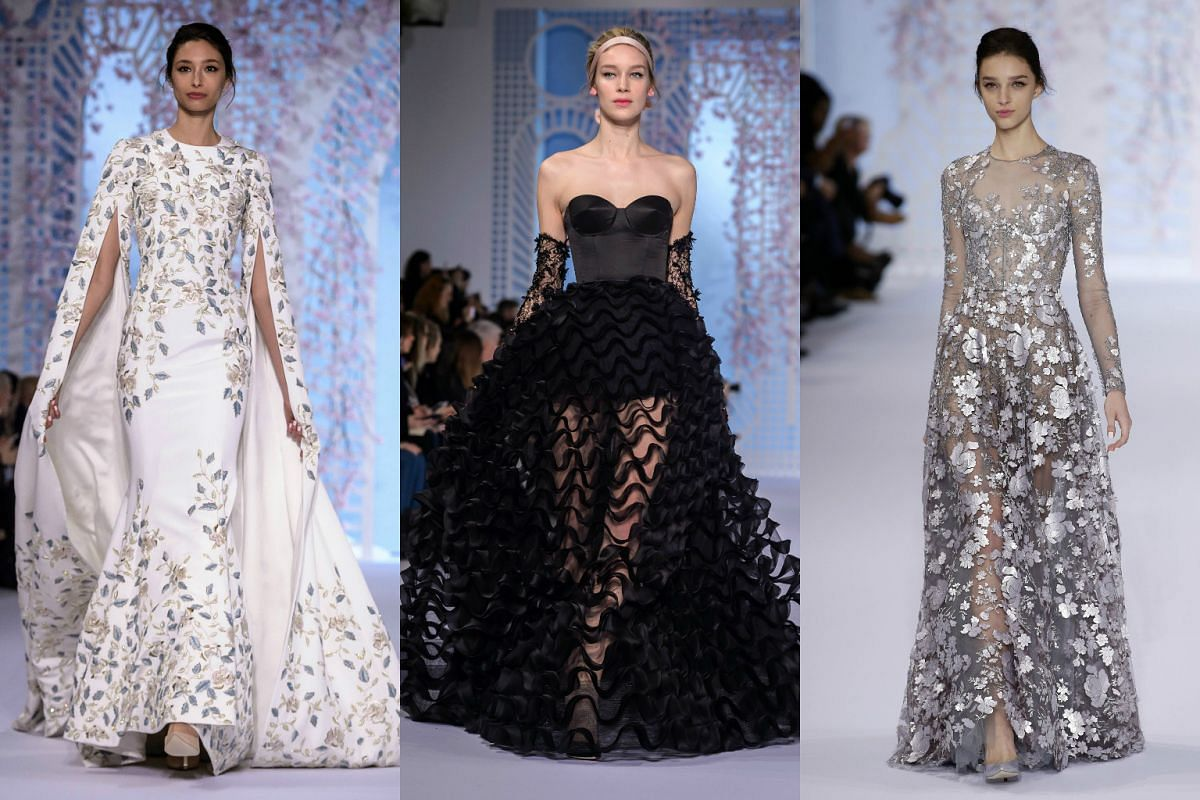 Models presenting creations from the Spring/Summer 2016 Haute Couture collection by Australian designers Tamara Ralph and Michael Russo for Ralph and Russo during Paris Fashion Week on Jan 25, 2016.