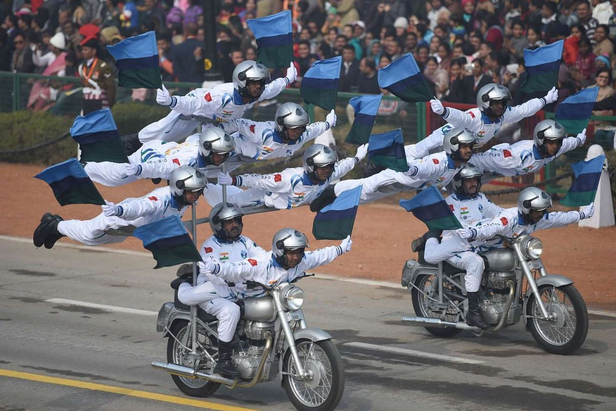 "This Jan 26 photo shows members of the Indian Army motorcycle team ""Daredevils"" performing during India's Republic Day parade in New Delhi."