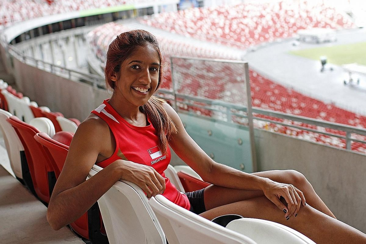 Shanti Pereira at the National Stadium, where she won the SEA Games gold in the 200m last year. She had to find a way to shed an obsession with improving her times before she was able to get better.