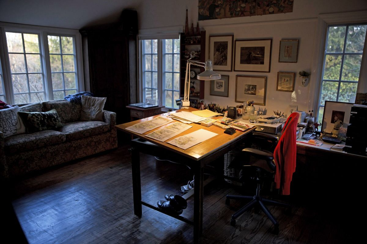 The preserved studio (above) of Maurice Sendak at his home in Ridgefield, Connecticut.