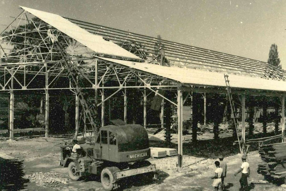 The rebuilding of the sawmill after the fire in 1963.