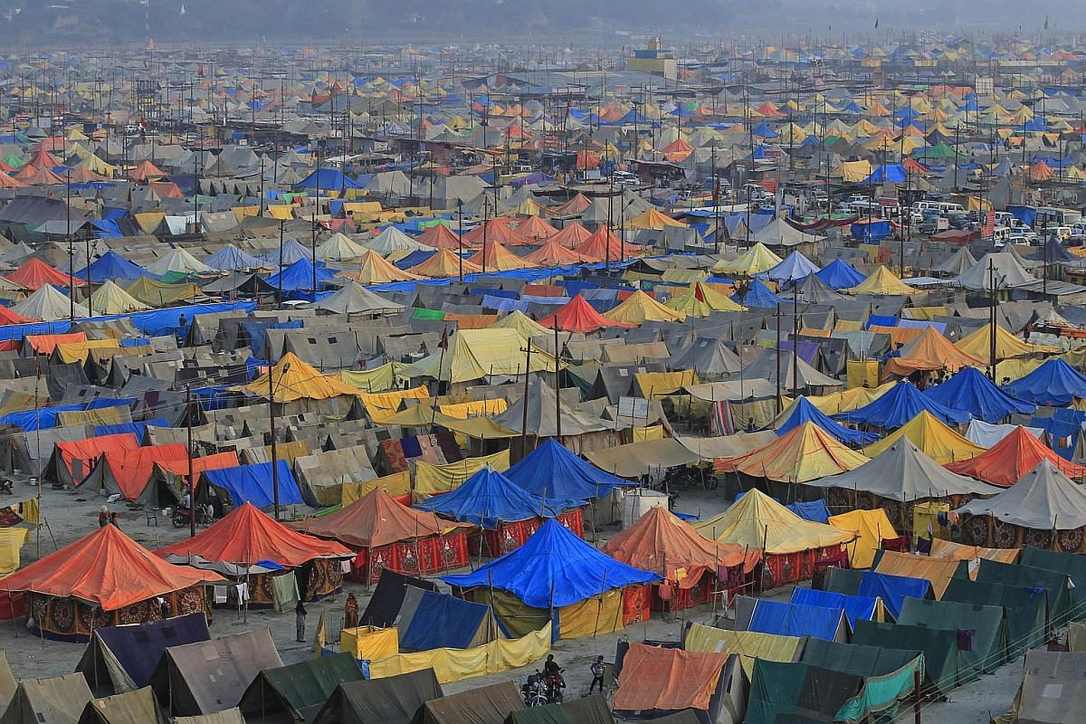 The giant tent city built for pilgrims attending the Magh Mela, a month-long Hindu festival, in Allahabad, India, on Jan 31, 2016.