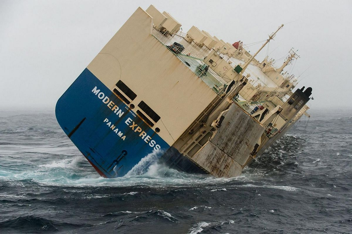 Stricken cargo ship Modern Express is seen in the Atlantic Ocean off France, in this Jan 30, 2016, picture provided by France's Marine Nationale.