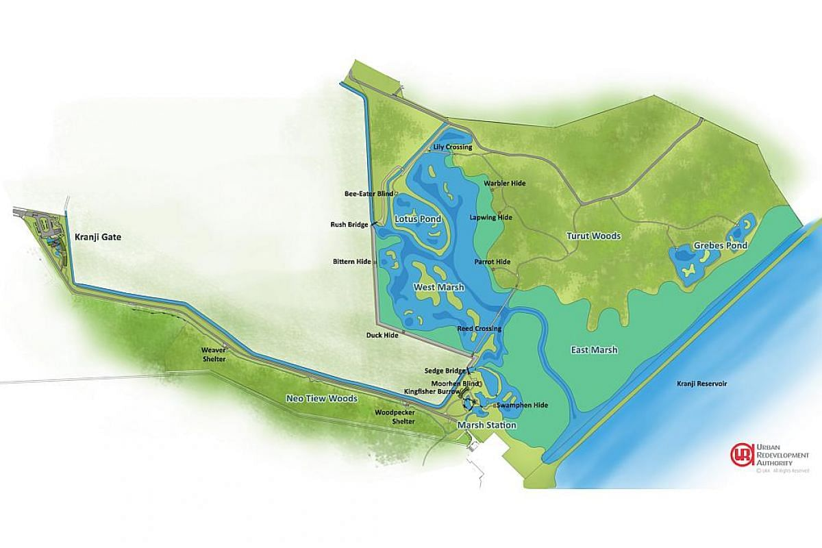 Map detailing the features at Kranji Marshes.