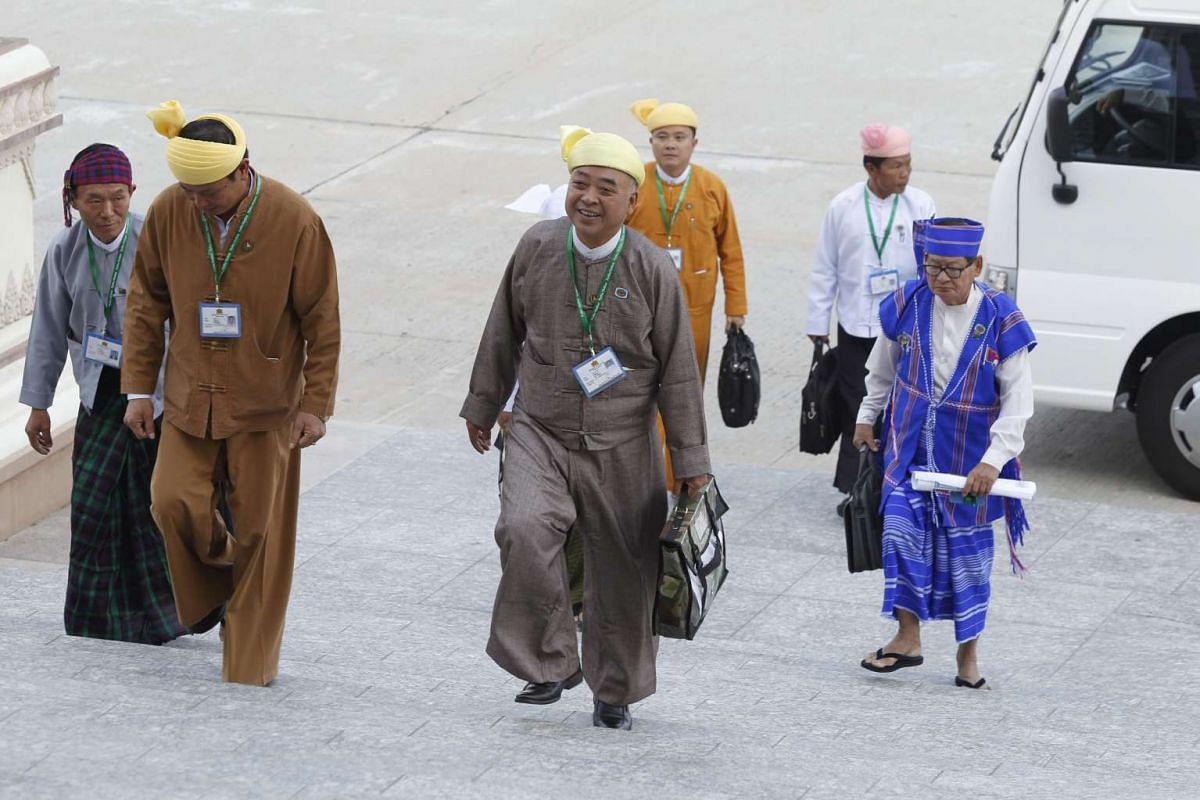 Members of Myanmar's new Parliament arrive for the first day of a new parliamentary session on Feb 1, 2016.