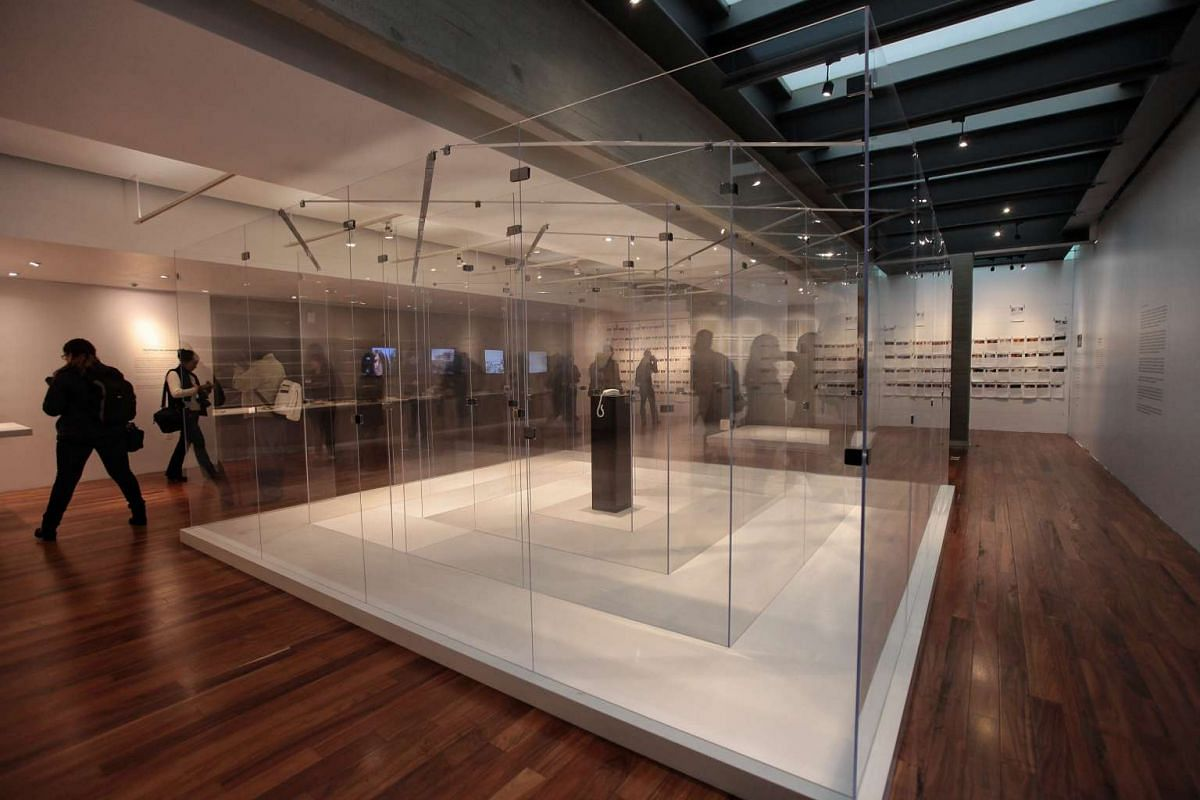 Japanese artist Yoko Ono's exhibition Telephone in Amazement at the Museum of Tolerance and Memory in Mexico City, on Feb 2.
