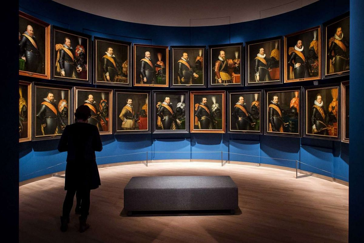 A series of 25 portraits of officers on display at the Mauritshuis art museum in The Hague, The Netherlands, on Feb 2.