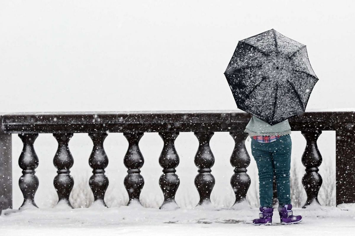 A woman standing on the viewing platform of Vorobyovy Hills during heavy snowfall in Moscow on Feb 2.