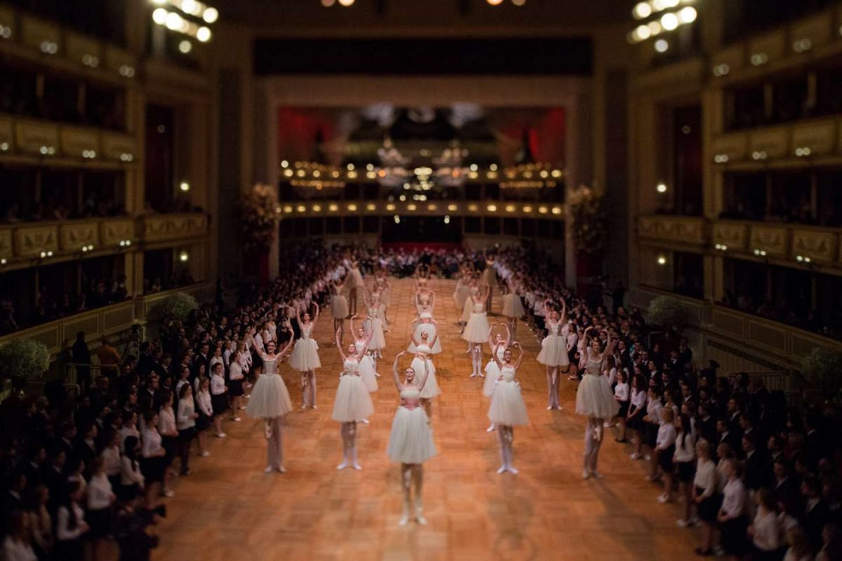 Dancers of the State Opera Ballet performing during the dress rehearsal for the traditional 60th Vienna Opera Ball at the Wiener Staatsoper (Vienna State Opera), in Vienna, Austria on Feb 3, 2016.