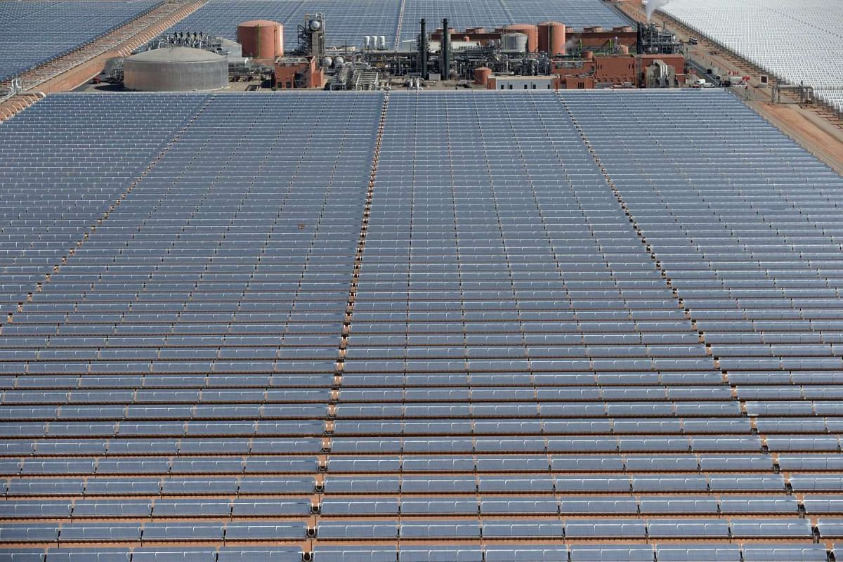 An aerial view of solar panels at the concentrated solar power (CSP) plant Noor 1, ahead of its opening ceremony.