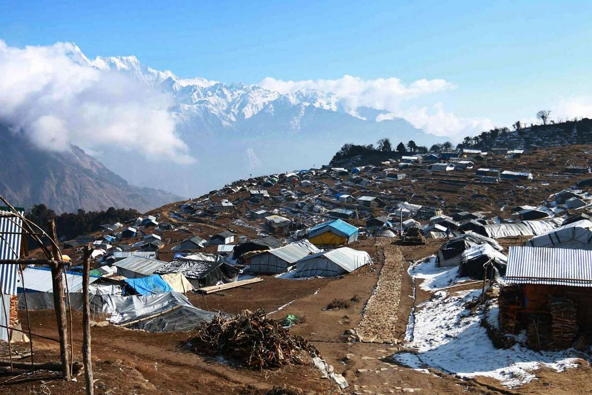 Temporary shelters in the Nepalese village of Laprak.