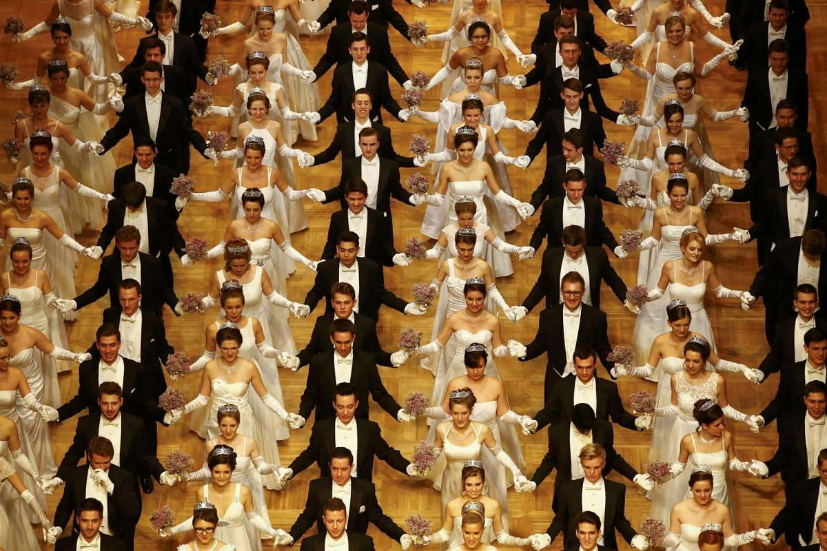 Dancers perform during the opening ceremony of the Opera Ball in Vienna on Feb 4, 2016.