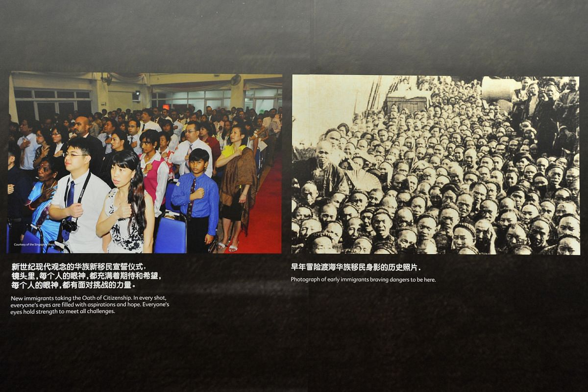 Left: New immigrants taking the oath of citizenship. Right: Early immigrants braving dangers to arrive in Singapore. The photos were part of the Blooms Of Vitality, Colours Of Life exhibition last month.