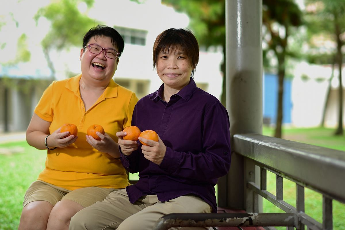 Ms Porsche Poh (right) spends Chinese New Year visiting beneficiaries of mental health advocacy organisation Silver Ribbon (Singapore). Ms Yee Yung Jen (left), who has depression, is one of the beneficiaries.