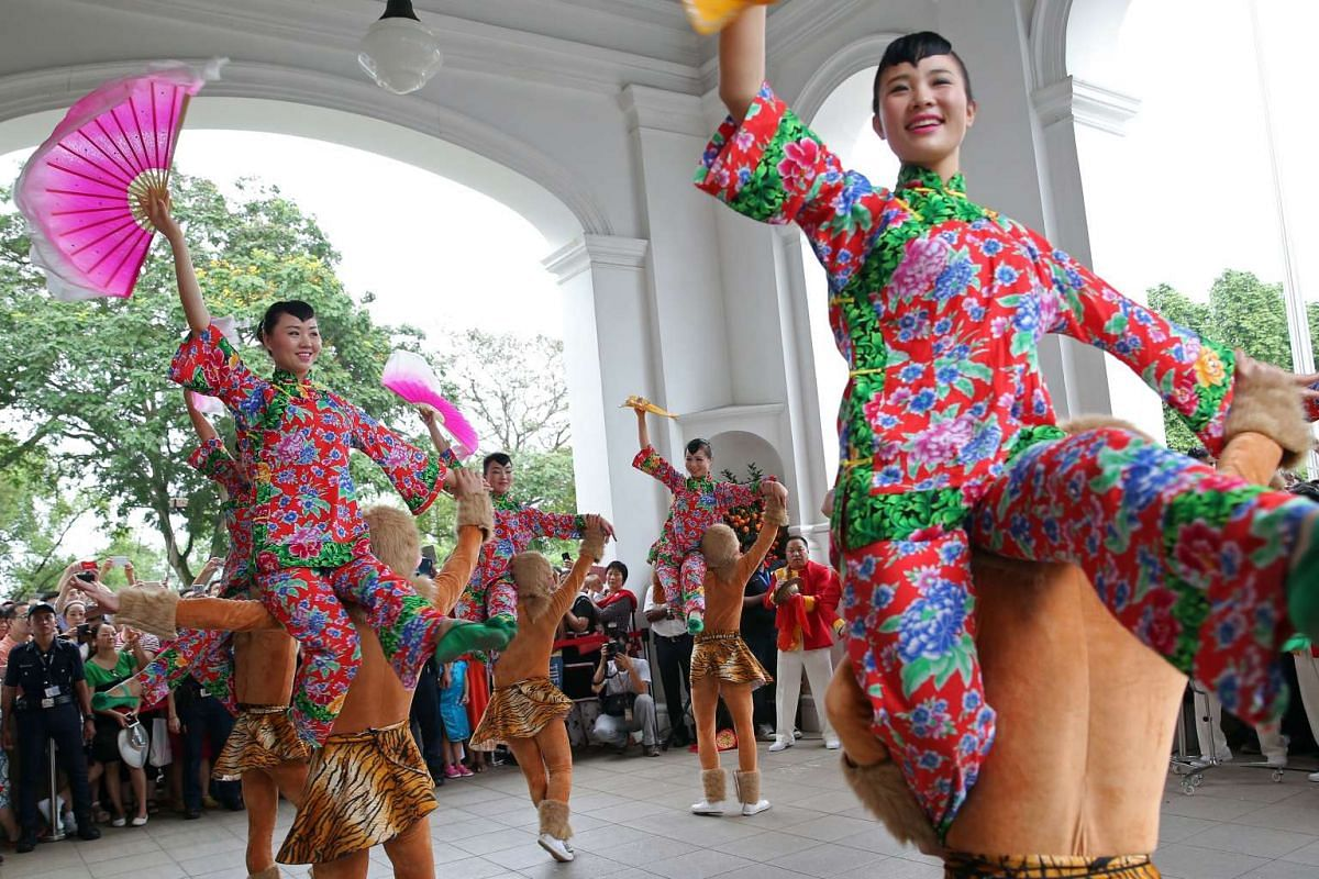 Members of the Suzhou Performing Arts Group taking part in a Chinese acrobatics performance at the Istana Open House on Feb 9, 2016.