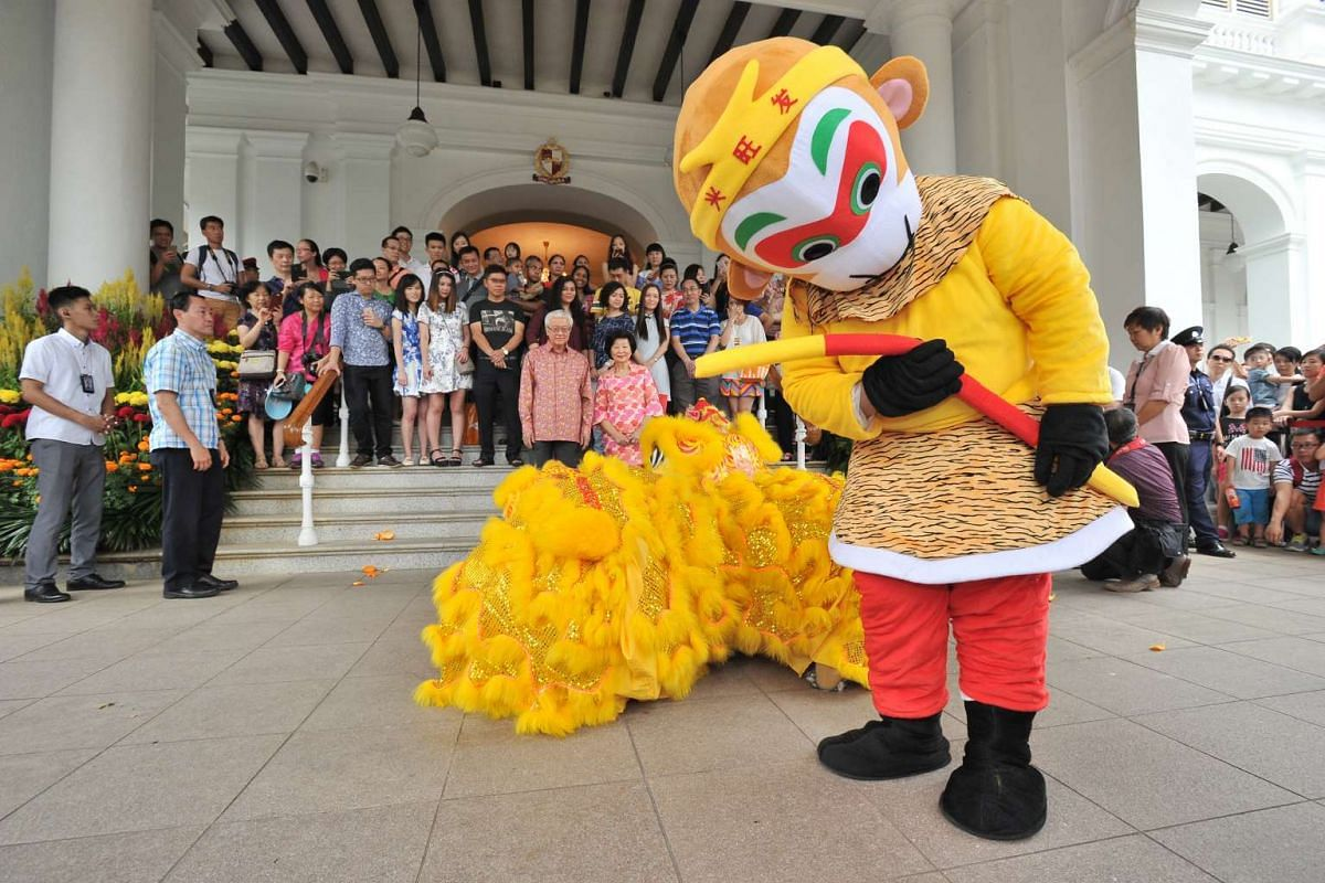 A monkey mascot during a Lion Dance Performance at the Istana Open House on Feb 9, 2016.