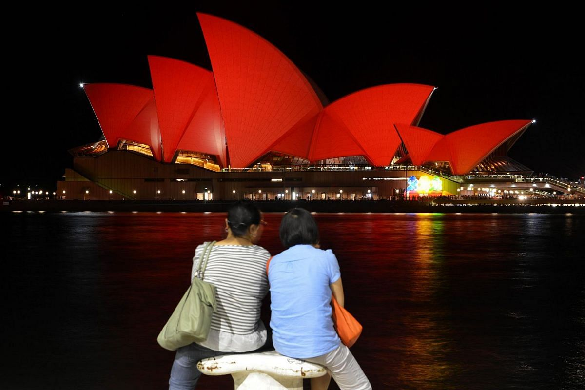 The Sydney Opera House was lit up in red to welcome in the Lunar New Year in Sydney on Feb 8, 2016.