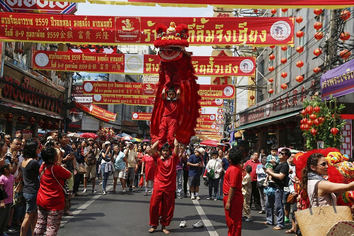 A traditional chinese dragon dancing during the celebration of the Chinese New Year in Chinatown in Bangkok, Thailand on Feb 8, 2016.