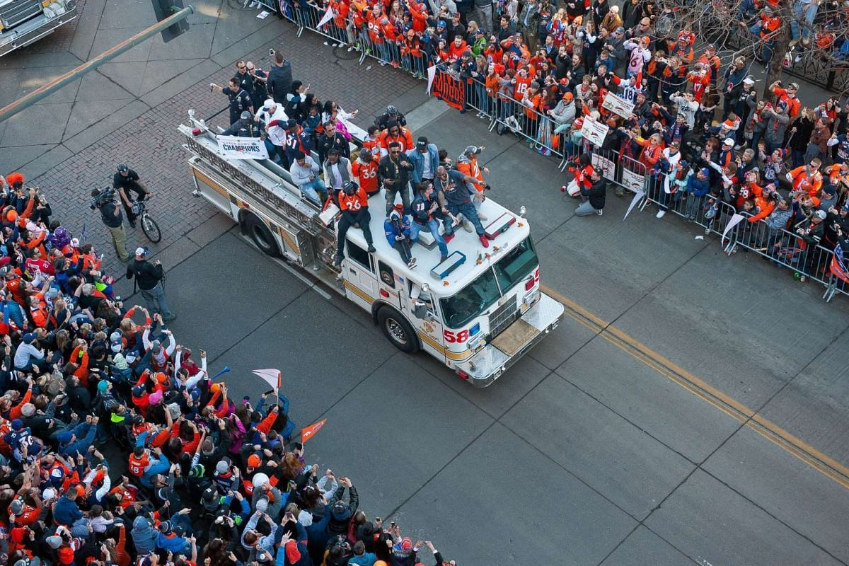 Broncos players and personnel take part in a victory parade after their victory at Super Bowl 50 on Feb 9, 2016.