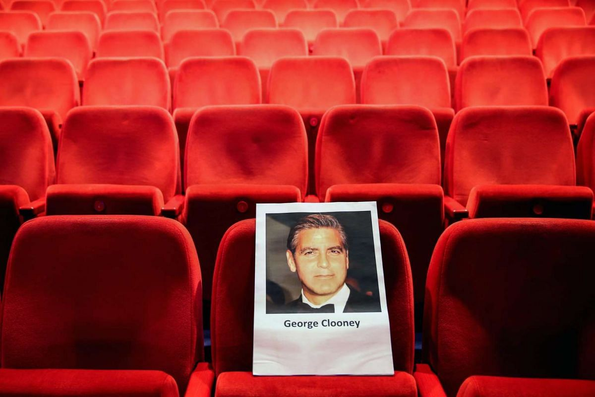 A seat has been prepared for US actor George Clooney at Berlinale Palace ahead of the 66th annual Berlin International Film Festival, in Berlin, Germany, on Feb 10, 2016.