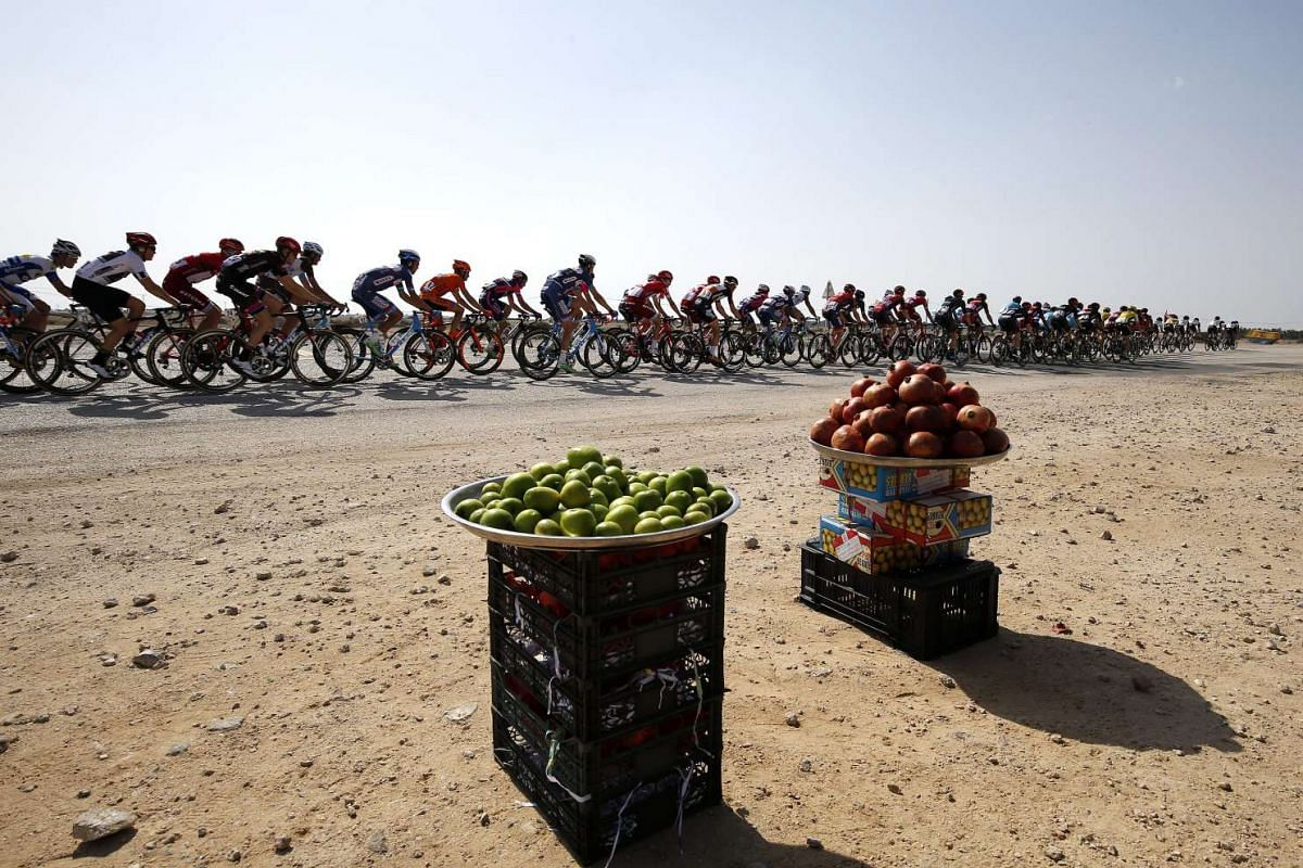 Cyclists during the 4th stage of the Tour of Qatar 2016, which is over 189km from Al Zubarah Fort to Madinat Al Shamal, in Qatar on Feb 11, 2016.