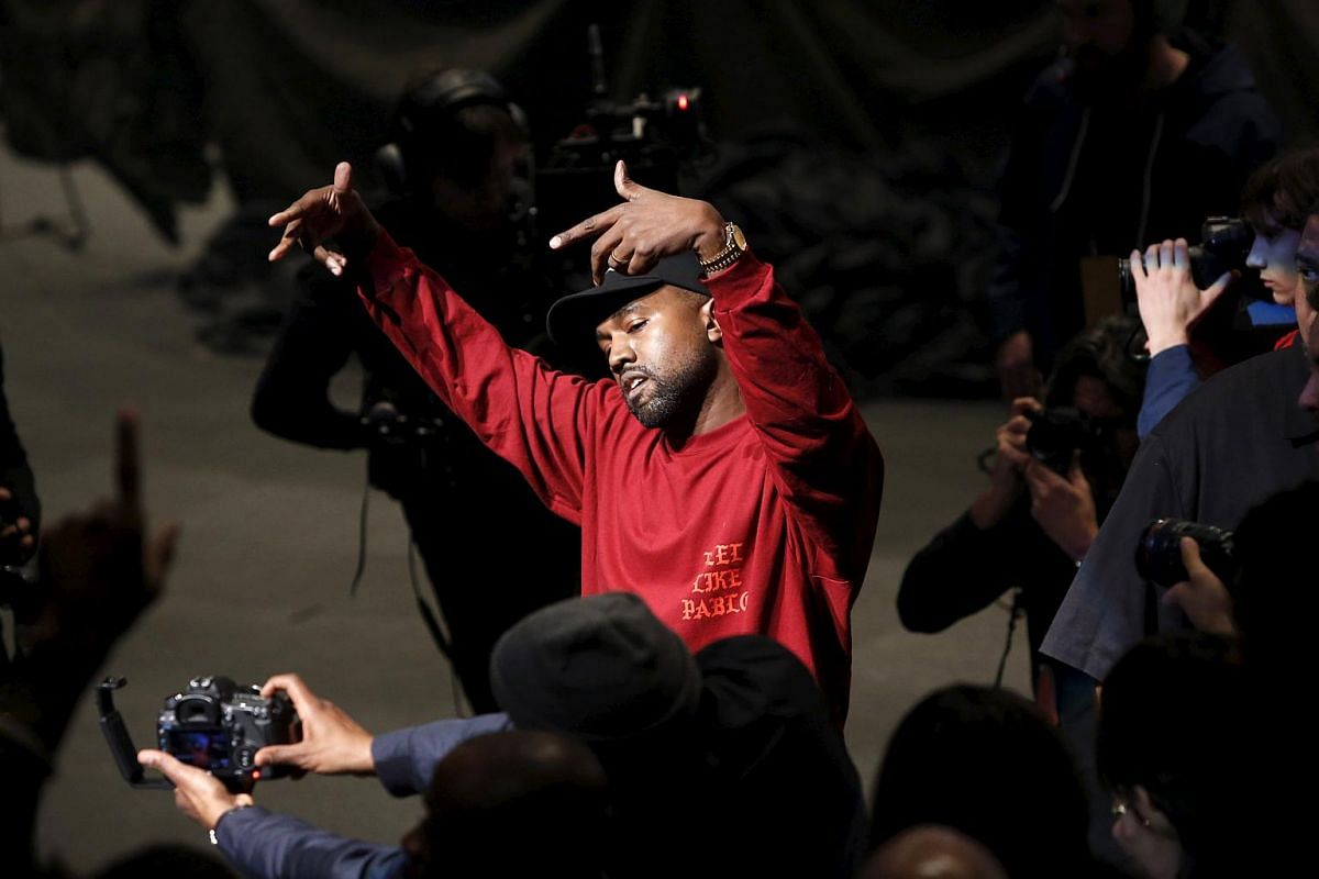 Kanye West dancing during his Yeezy Season 3 Collection presentation at the New York Fashion Week on Feb 11.