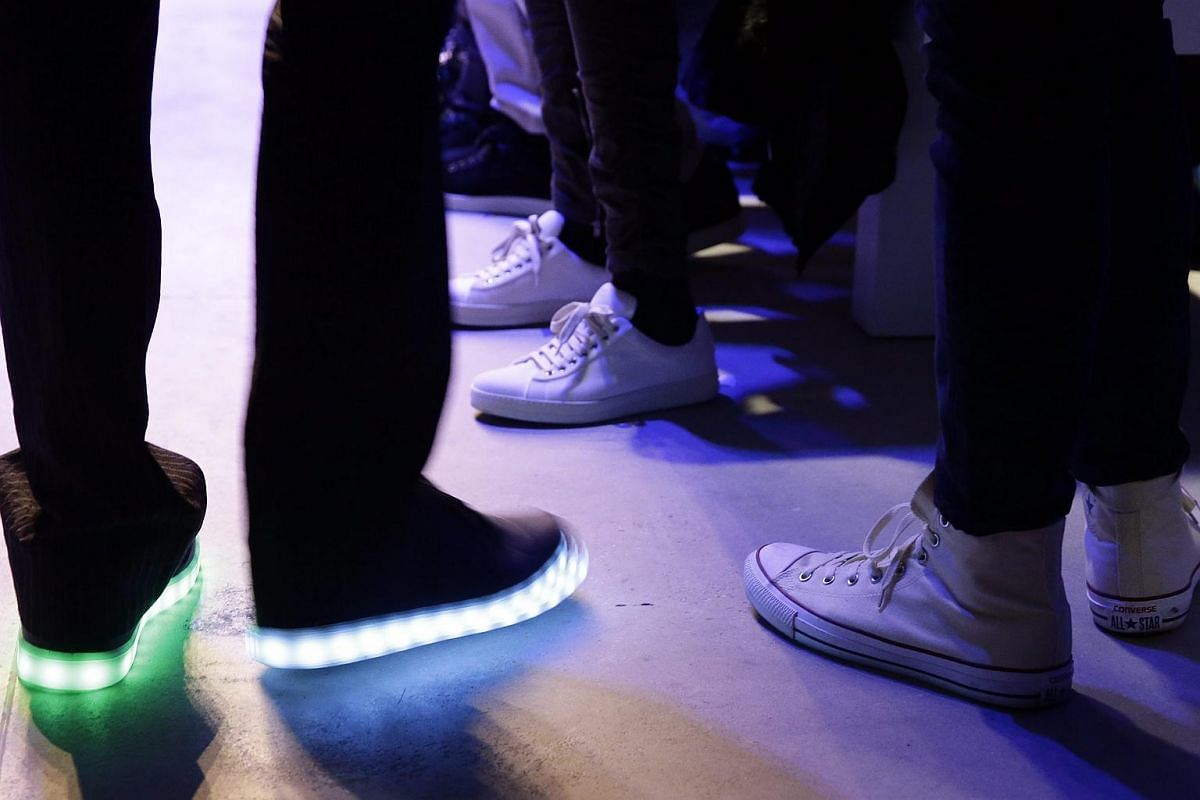 A person wearing a pair of HoverKicks (left) at the New York Fashion Week on Feb 11.