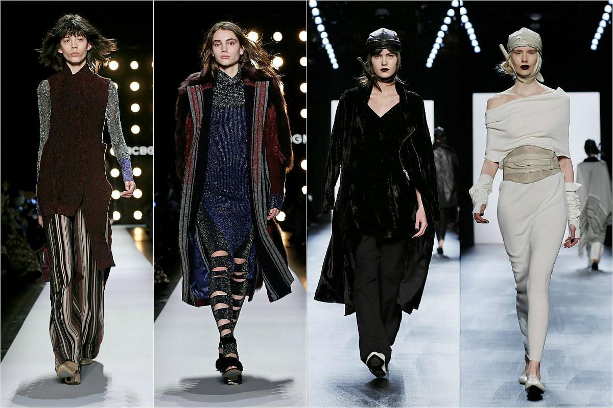 Models presenting creations by BCBG Max Azria (left, second from left) and Nicholas K Fall (right, second from right) at the New York Fashion Week on Feb 11.