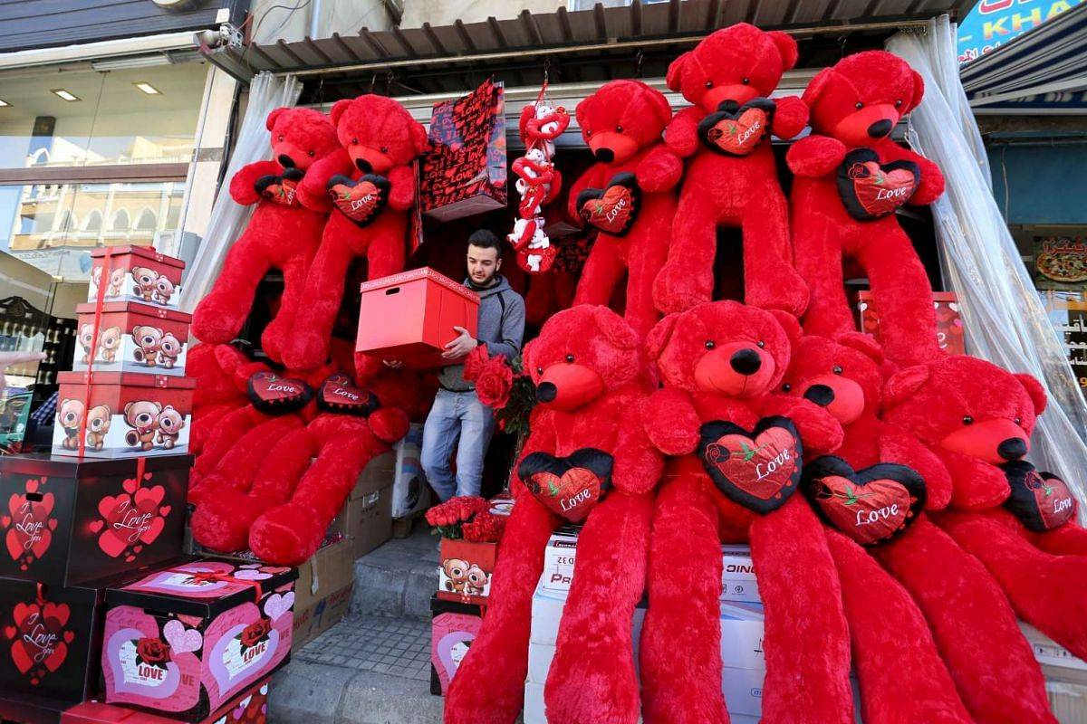 A man shops for Valentine's Day in Beirut, Lebanon, on Feb 12, 2016.