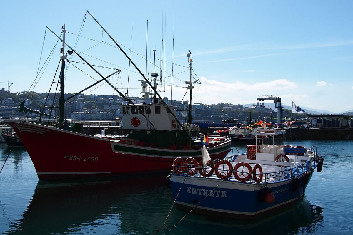 Skiffs and larger boats (above) deposit their catch and anchor for the night at San Sebastian's fisherman's port.