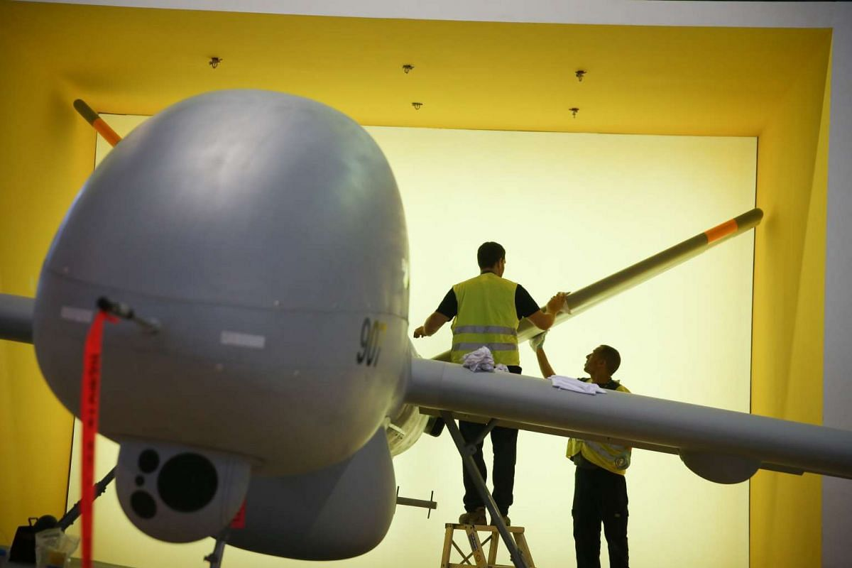 The Elbit Hermes 900 unmanned aerial vehicle (UAV) at the Singapore Airshow 2016 on Feb 14, 2016.