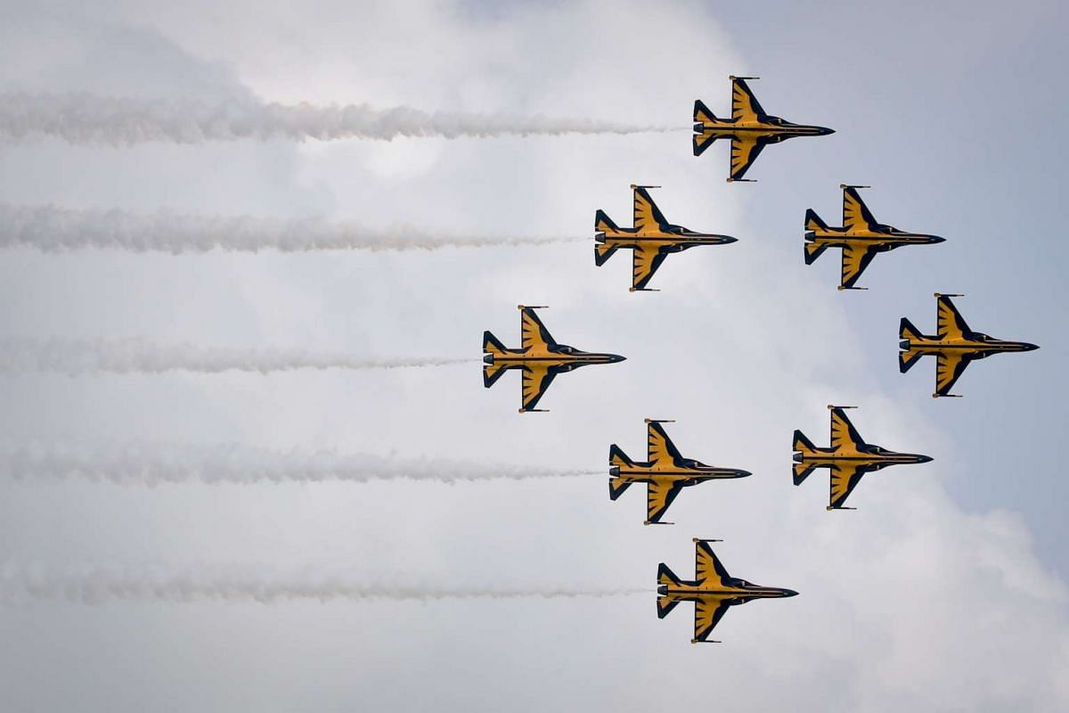 Planes in a diamond formation by the Black Eagles Aerobatic Team by the Republic of Korea Air Force at the Singapore Airshow 2016 on Feb 14, 2016.